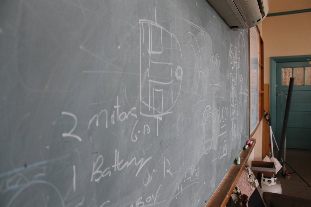 A blackboard for scribbling on.