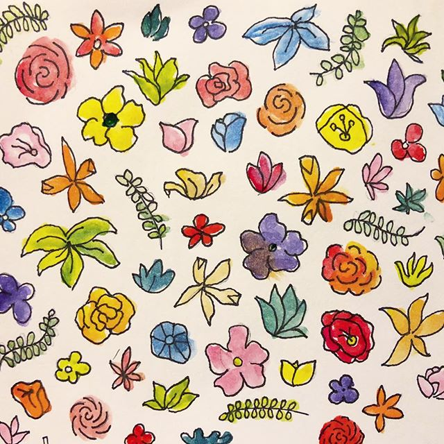 Sixty colorful flowers for my moms 60th birthday 🌺🌼🌿🌸🌷 #watercolor #flowers #drawing