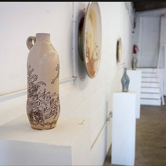 Photo of piece from my thesis show last June at the @parachutefactorylex  Photo credit: Stevie Morrison  #handmade #bfa #thesis #gallery #ceramics #design #form #texture #drawing #decals #clay #craft #wheelthrown #art #artisan #craftsman #whiskey #studio #bottle #hands #pottery