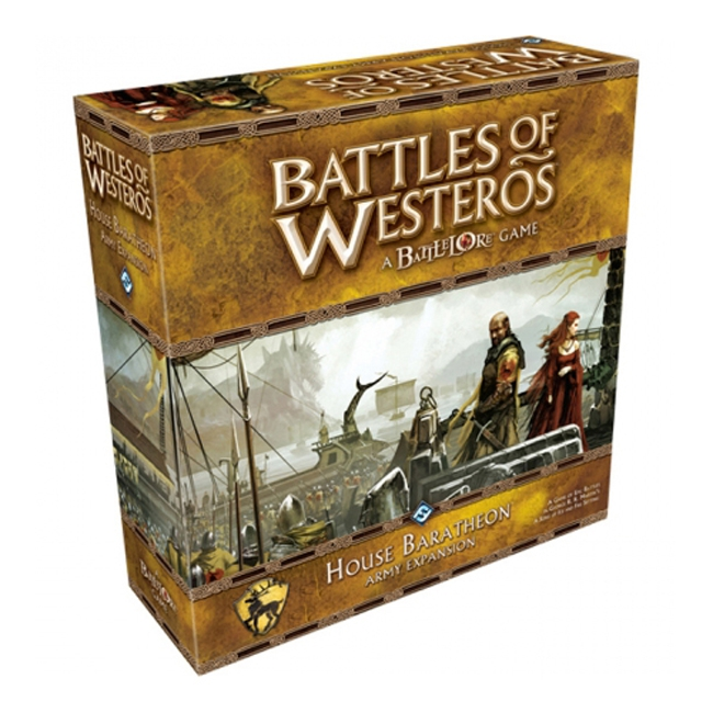 House Baratheon Expansion - For the first time, the seasoned forces of the crowned stag take to the field of battle to defend their claim to the Iron Throne! In the House Baratheon Army Expansion for Battles of Westeros, you can unleash the Baratheons' fury with eight mighty commanders and over 100 detailed troop miniatures. An epic battle awaits you on the stunning Blackwater map, and innovative rules for Alliance battles allow up to eight players to clash in the deadliest of conflicts.