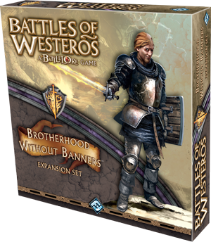 Brotherhood Without Banners Expansion - Brotherhood Without Banners introduces players to a new ally force with which to supplement a primary House's forces! With new unit types, a rulebook with four new scenarios, new cards, new commanders (Lord Beric Dondarrion, Anguy the Archer, and Thoros of Myr), and even more, this expansion will bring greater variety to your Battles of Westeros experience and awesome power to your House's cause. Unlike other Battles of Westeros sets, Brotherhood Without Banners does not include any banner or pole components, as these outlaw warriors neither answer to a liege lord nor ride under any flag. Instead, these units do not follow normal activation rules and are controlled by an innovative a new mechanic: Brotherhood tokens.