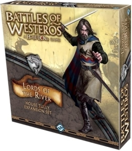"""Lords of the River Expansion - War has come to the Riverlands! Rally the banners of House Tully with the Lords of the River ally force expansion for Battles of Westeros. Lead your troops to battle with Edmure Tully, Brynden """"Blackfish"""" Tully, or Marq Piper, and lay waste to your foes with Tully River Riders, Tully Longbowmen, and the Warriors of Wayfarer's Rest. New keywords such as Riverborn and Indirect Fire will give you an edge when fighting near rivers or hindering terrain, representing House Tully's familiarity with fighting in the Riverlands. In addition to these new forces, Lords of the River also comes with a rules and battle plan book, new terrain, and House Tully Gambit and Skirmish cards. Lords of the River will also be the first expansion to feature the new Battles of Westeros Premium Banners, replacing the cardboard token banners from the Core Set."""