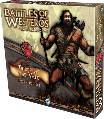 Tribes of the Vale Expansion - Born in the cruel climate of the Mountains of the Moon, the clansmen of the Stone Crows, Black Ears, and Burned Men are of a violent breed. Uncivilized, uncouth, and unrefined, these men and women live to kill, and they do it well.Tribes of the Valeintroduces the clansmen to Battles of Westerosas an ally force, meaning they can supplement House Lannister or, if playing with the Skirmish rules, House Stark from the Core Set. Ally forces such as those found in Tribes of the Valeare represented as tan colored miniatures on the board, differentiating them from the forces of the house they are supporting. This provides greater customization for Skirmish battles and allows players to easily find their allied troops on the field during battle.Included in Tribes of the Valeare are three new commanders and three new unit types. Shagga, Son of Dolf is a ruthless barbarian of the Stone Crows, capable of wielding two massive battle axes better than some men handle one. Timett, Son of Timett earned his place as the Red Hand of the Burned Men by taking out his own eye. A fearless expert swordsmen, Timett rarely fails to kill anyone he means to. Finally, Chella, Daughter of Cheyk is a vicious woman, decorating herself with the ears of her enemies.In addition to these new forces,Tribes of the Valealso comes with a rules and battle plan book, new terrain, and Clansmen Gambit and Skirmish cards.