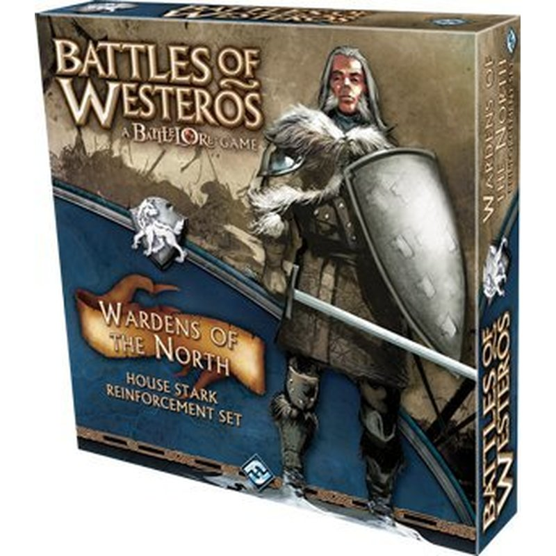 """Wardens of the North Expansion - """"Winter is coming..."""" -House Stark motto Expand your House Stark forces in Battles of Westeros with this brand new reinforcement set. Featuring three new commanders and three new unit types, Wardens of the North gives players greater versatility when building and fielding their Stark armies. Wardens of the North adds more than 30 new plastic miniatures and over 30 new cards. It also includes a Rules and Battle Plans book as well as more terrain overlays, banners, and tokens. Additionally, Wardens of the North also introduces new game mechanics, such as the new Defend tokens, Marsh terrain, and new Gambit Cards! Included in this expansion: • Three new commanders and three new unit types for House Stark • New game mechanics - Gambit cards, Defend tokens, and Marsh terrain • Additional tokens, banners, terrain overlays, and cards • Rulebook with new Battle Plans"""