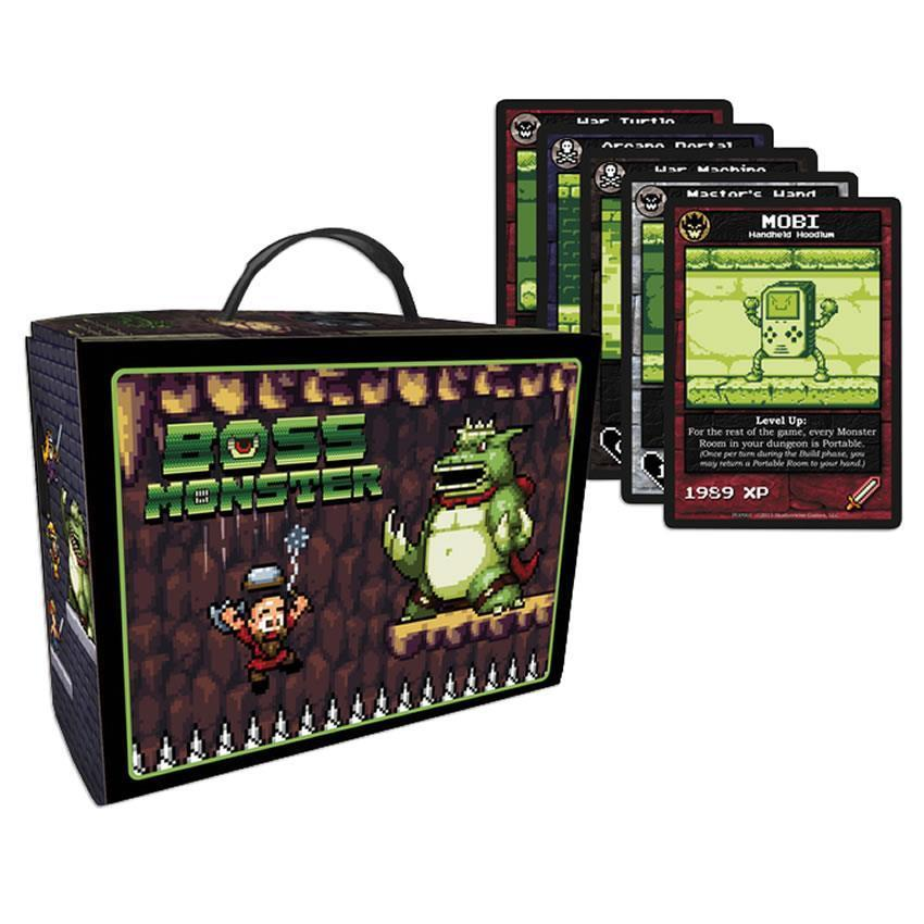 Collector Box - Brotherwise Games is pleased to offer a Collector Box for Boss Monster: The Dungeon Building Card GameTM. The Collector Box is crafted of sturdy cardboard with retro lunchbox stylings, holds over 500 sleeved Boss Monster cards, and includes labeled dividers for all your card types. Also included are 11 all new Boss Monster cards featuring the