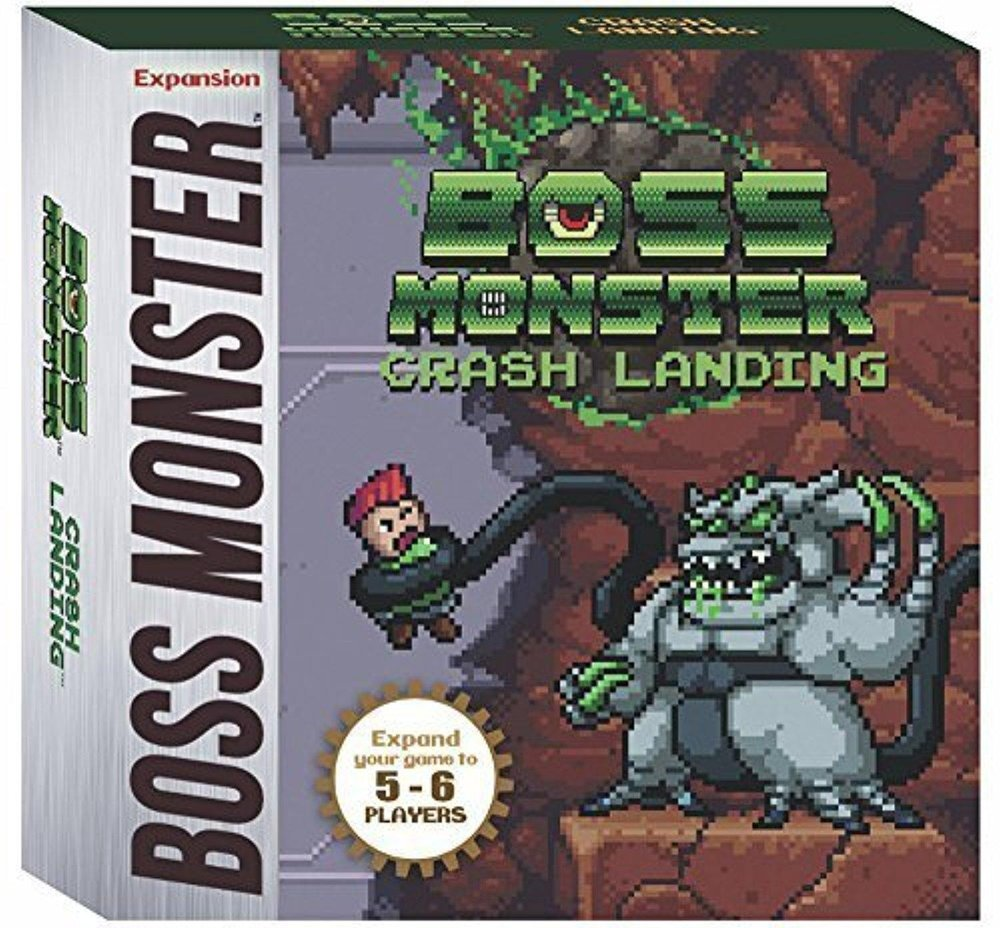 Crash Landing - An alien spaceship has crash landed in the world of Arcadia! Boss Monster: Crash Landing is a miniexpansion for the hit dungeon building card game, allowing players to expand their Boss Monster game to 5-6 players. Crash Landing introduces an all new treasure type, new heroes, new Bosses, and new rooms powered by alien monsters and technological traps never before seen in the world of Boss Monster! Crash Landing is a mini-expansion of 45 cards. It requires Boss Monster 1 or Boss Monster: The Next Level to play. It is fully compatible with all Boss Monster sets. Contents: 45 all new cards that expand the game to 5- 6 players and one rules sheet. Players: Expands base game to play with 5-6 people,