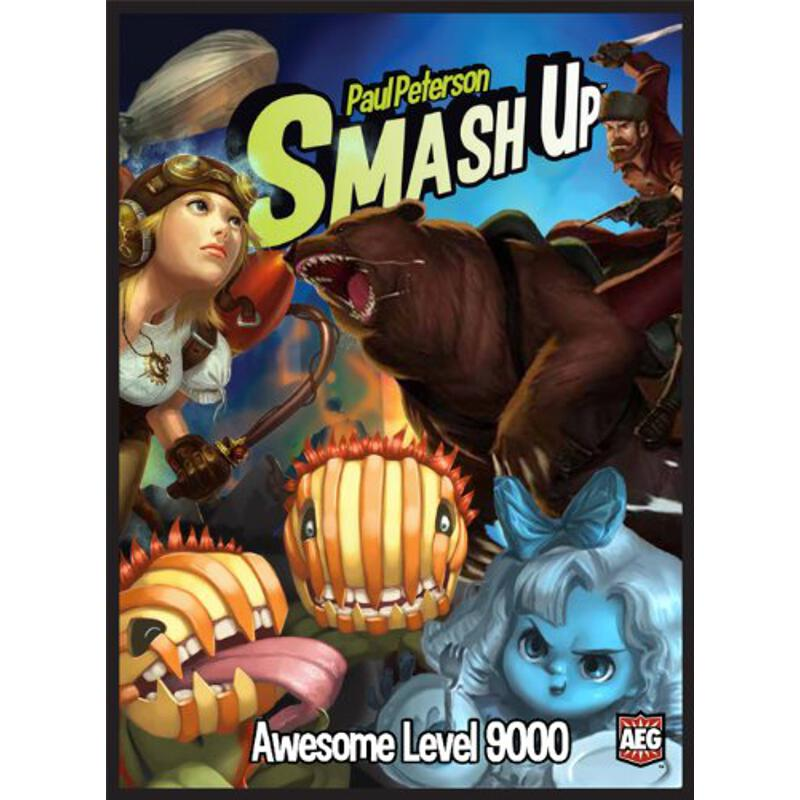 Awesome Level 9000 - Awesome level... rising... Thought you had enough awesome with Pirates, Ninja, and Zombies? Well get a load of this, bucko-Killer Plants, Steampunks, Ghosts, and Bear Cavalry are here to smash into your game! Plants grow out of control, Steampunks build on bases, Ghosts shriek out of the ether, and Bear Cavalry scare away the opposition. Two players can play with just these decks, or mix them with original-recipe Smash Up for up to 4 players, and feel your awesome level skyrocket! Feels good, doesn't it? Contents: 4 factions with 20 cards each, 8 base cards, 1 victory point token sheet, 1 Rulebook, and the original 16 Smash Up bases with improved graphics! Players: 2 (4 with base set)