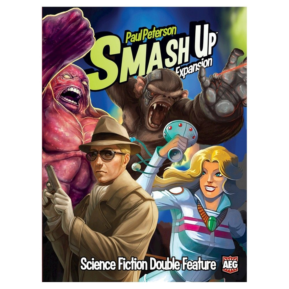 Science Fiction Double Feature - Smash Up is back with even more wild factions in the mix! Science Fiction Double Feature brings four new groups to the base-smashing business, with abilities unlike those seen before! Time Travelers - The time stream has been compromised. Robots from the future mingle with pirates, extinct dinosaurs move with magical wizards! everything is all smashed up! That's where the Time Patrol steps in. Organized in 1976 and led by the enigmatic Doctor When, the Time Patrol works to keep time flowing in the manner they deem best. Cyborg Apes - In a daring raid on a top secret research facility, apes stole the latest in cybernetic enhancements, and are now enacting their centuries old plan to take over the world! Combining their natural athleticism and powerful strength with high-tech augmentations, these apes will go bananas all of your opponents! Super Spies - The shadow war between International Secret Intelligence and the evil HAVOC (Henchman and Villains of Chaos) continues. HAVOC's schemes threaten the world, from weather changing satellites to lasers mounted on secret moon-bases, they can only be opposed by the daring agents of the ISI. Using the latest in espionage technology, the ISI will be able to foil your opponents plans before they even come to fruition. Shapeshifters - Far below the surface of the earth, strange amorphous creatures have developed a thriving world, based on the manipulation of their own genetics. Now they plan to apply that knowledge to conquer our world above. Taking samples of the most powerful creatures and warriors they can find, these shapeshifters can use the best of whoever they copy. Combine these groups into teams of two for various effects! Smash Up: Science Fiction Double Feature also contains 8 new Base cards to compete over.