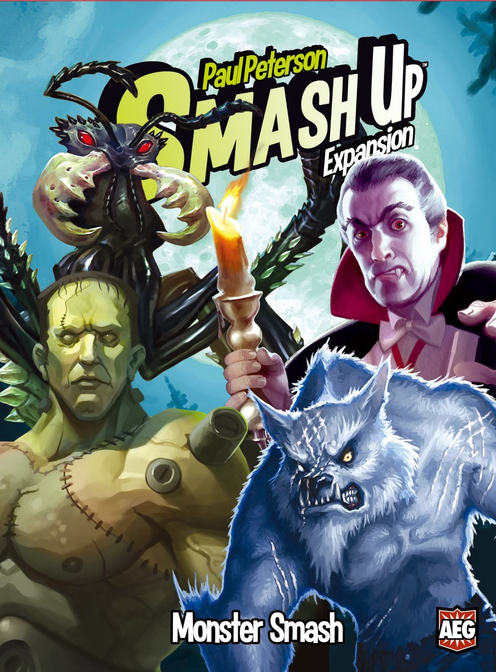 Monster Smash - We were working the lab, late one night... then we made Monster Smash! This expansion to Smash Up brings you four new creepy decks to scare your opponents to death! or at least beat them to 15 points. Vampires drain power from their victims. Mad Scientists construct bizarre creations of great strength. Werewolves go berserk with power. Giant Ants swarm their victims. It's enough to make you run out of the theater in terror! Smash Up lets you bring together various groups from Geekdom to create decks that will smash your opponents! Combine Wizard Pirates, or Ninja Dinosaurs, or Robot Vampires! Fight to score the most points and win the game. Key Selling Points - Four all-new factions for Smash Up! - Great monster/halloween theme for this fall!
