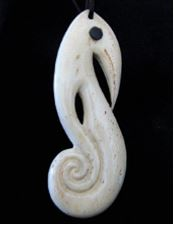Bone carving of a stylised sea horse (carver unknown