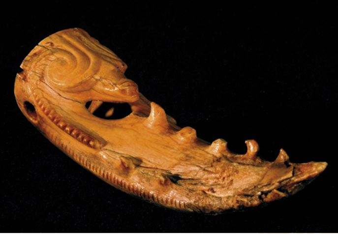 An ancient whale-tooth carving from the Otago Museum