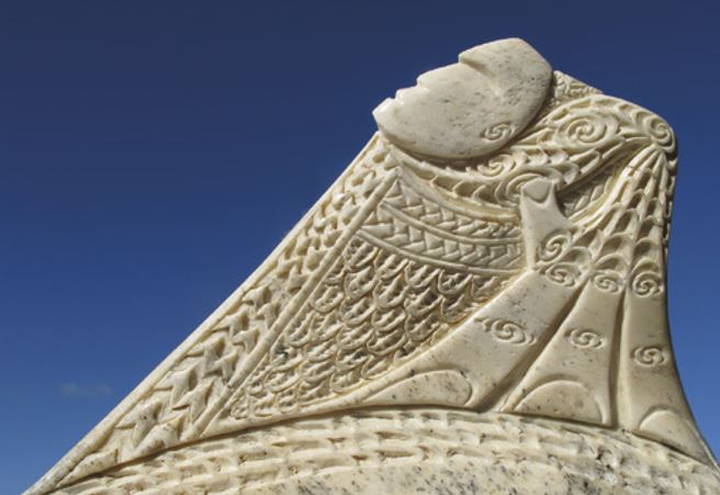 Aoraki stands above all on this section of a whalebone carving