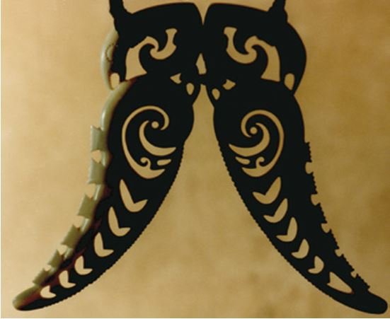 A paired pendant representing Tangaroa and Tū Te Raki Whānoa