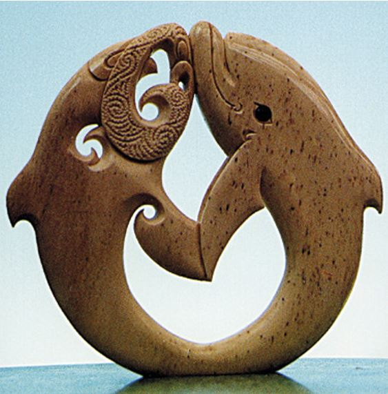 This carving of two dolphins represents the meeting of two cultures when Abel Janszoon Tasman anchored in Golden Bay in 1642