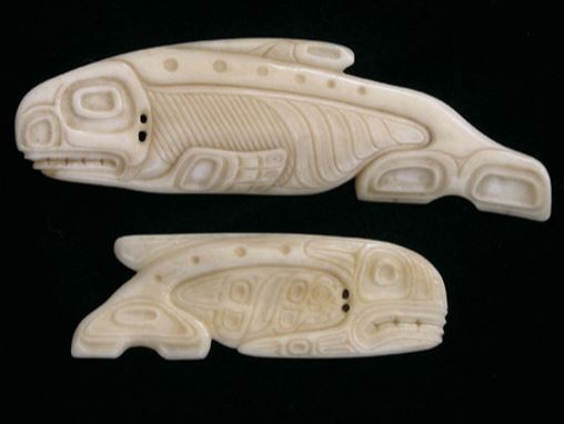 Canadian moose bone carvings of orca, 1950s