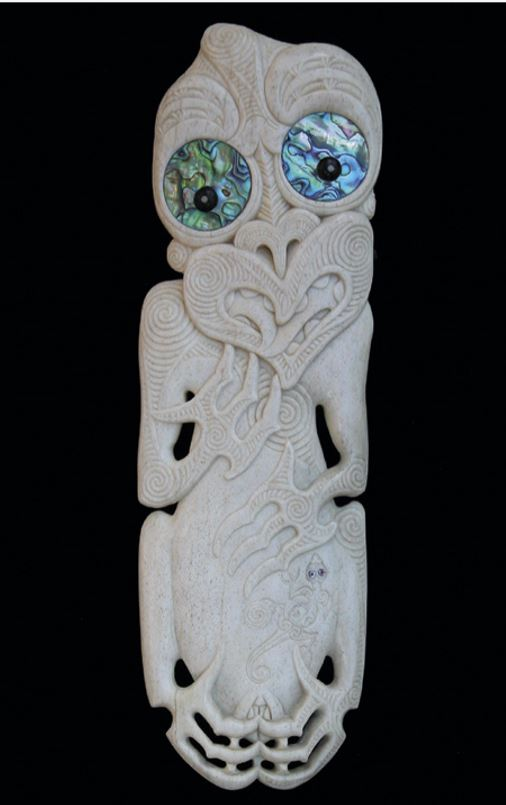 Homage to Hine nui te Pō, a whalebone carving by Owen Mapp