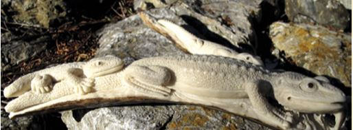 A deer antler carving of lizards from Thailand