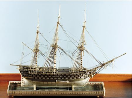 Model of the ship St George, carved in 'Dieppe ivory', Nelson Provincial Museum