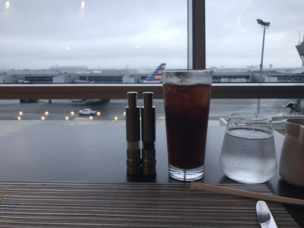 Iced coffee in Flagship First Dining