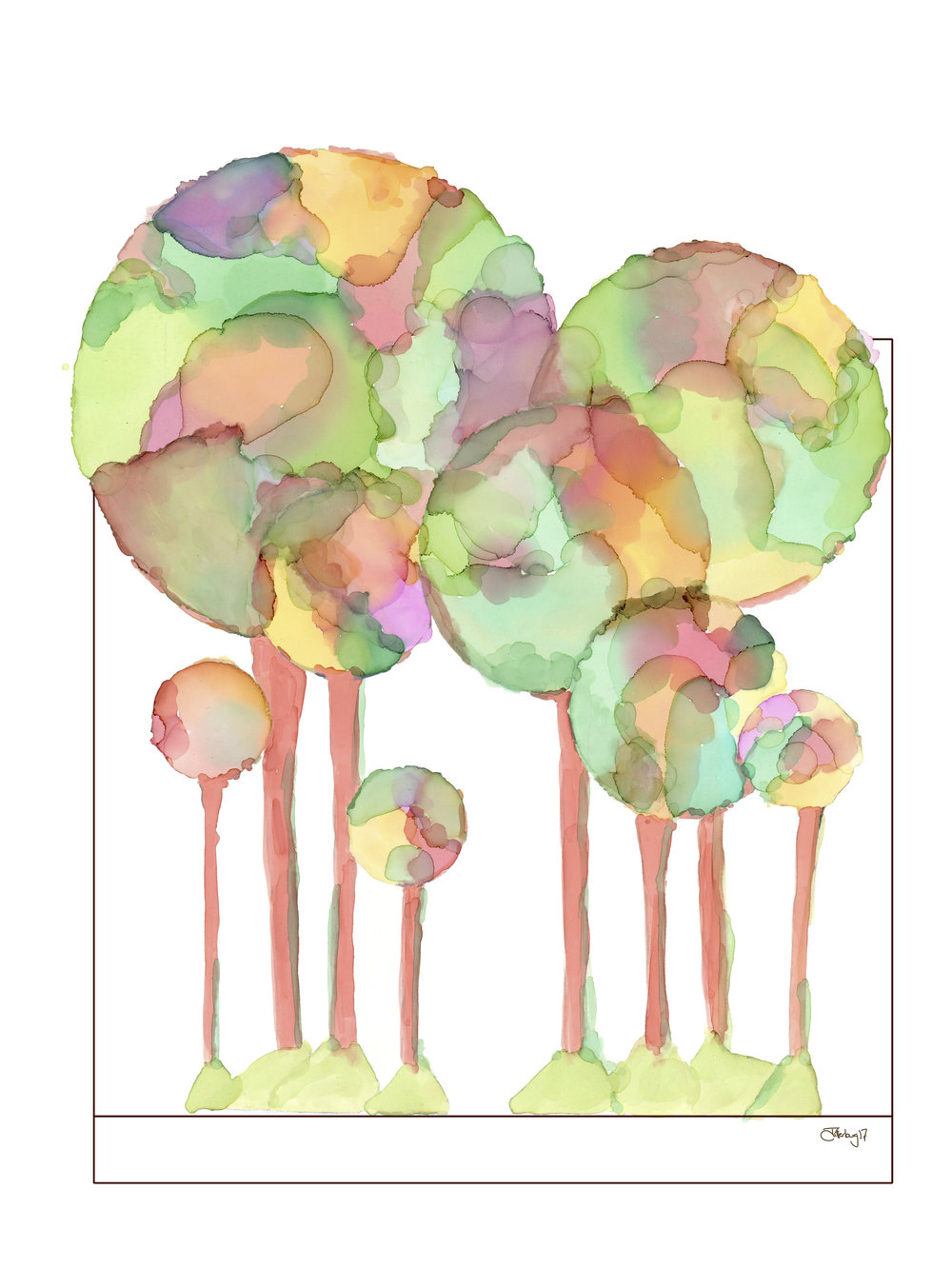 Bubble Trees - Art Print on Paper