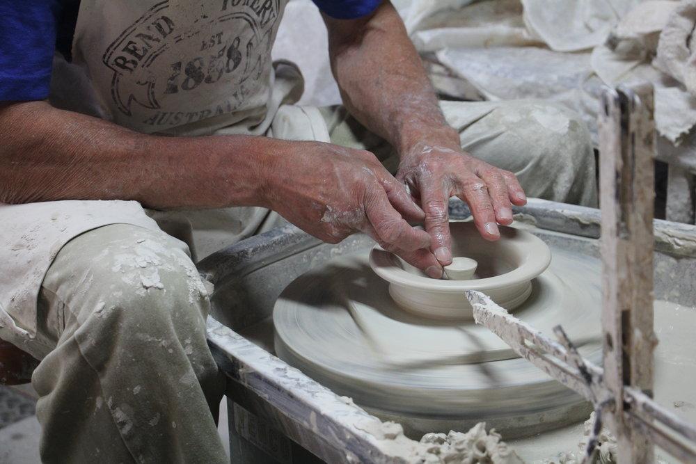 A potter on the wheel.Photo Credit: Explore Bendigo & Bendigo Tourism