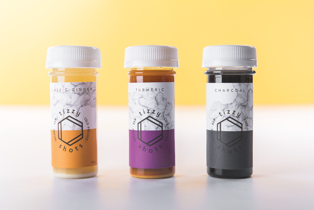 Tizzy Shots 3 flavors - Classic Ginger, Turmeric, and Activated Charcoal