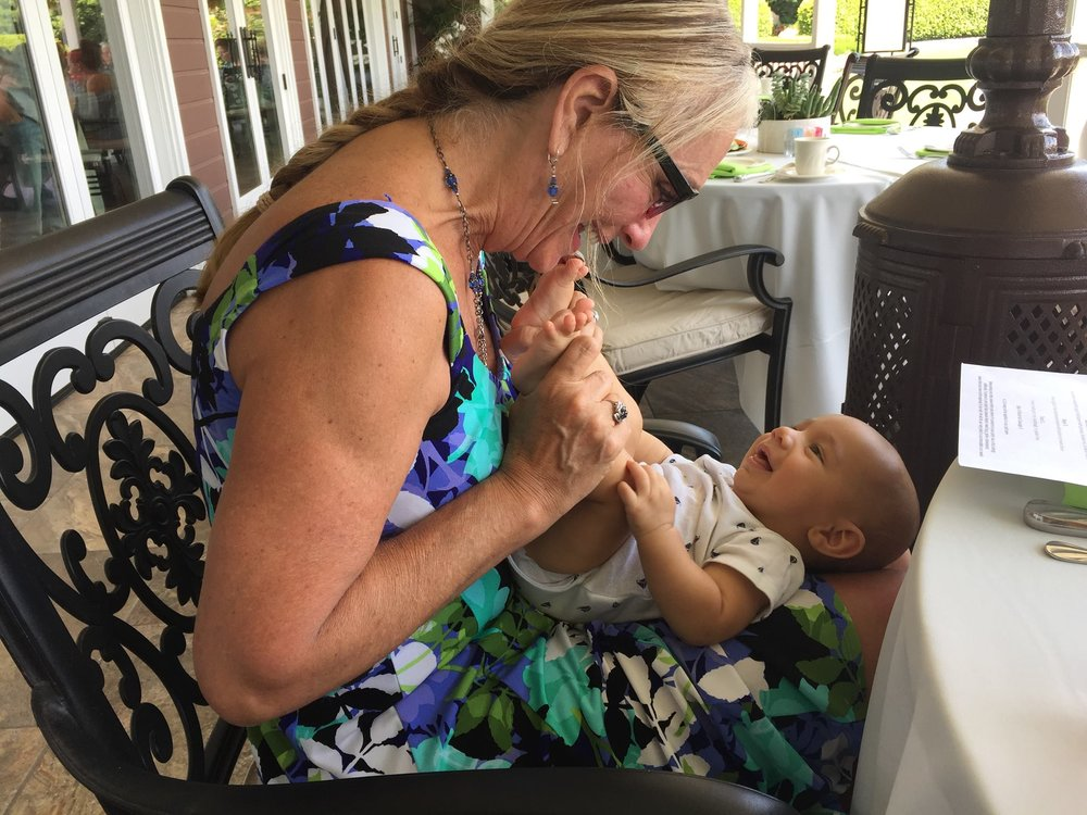 Paula catching up with one of her precious clients over lunch.