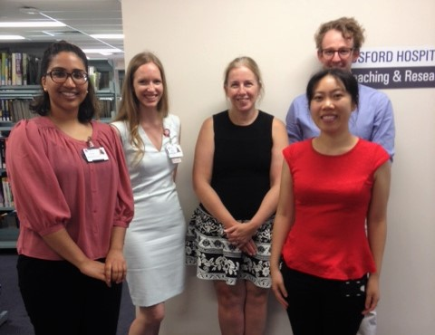IMAGINE Team - STORCC is currently undertaking a series of trials and research projects. The IMAGINE (Ileus Management International) trial is now underway at Gosford, Wyong and Gosford Private Hospitals.The team includes (left to right): Amrita Nair, Ashe deBaisio, Amanda Dawson, Log Tung Lai and Colby Stevenson.