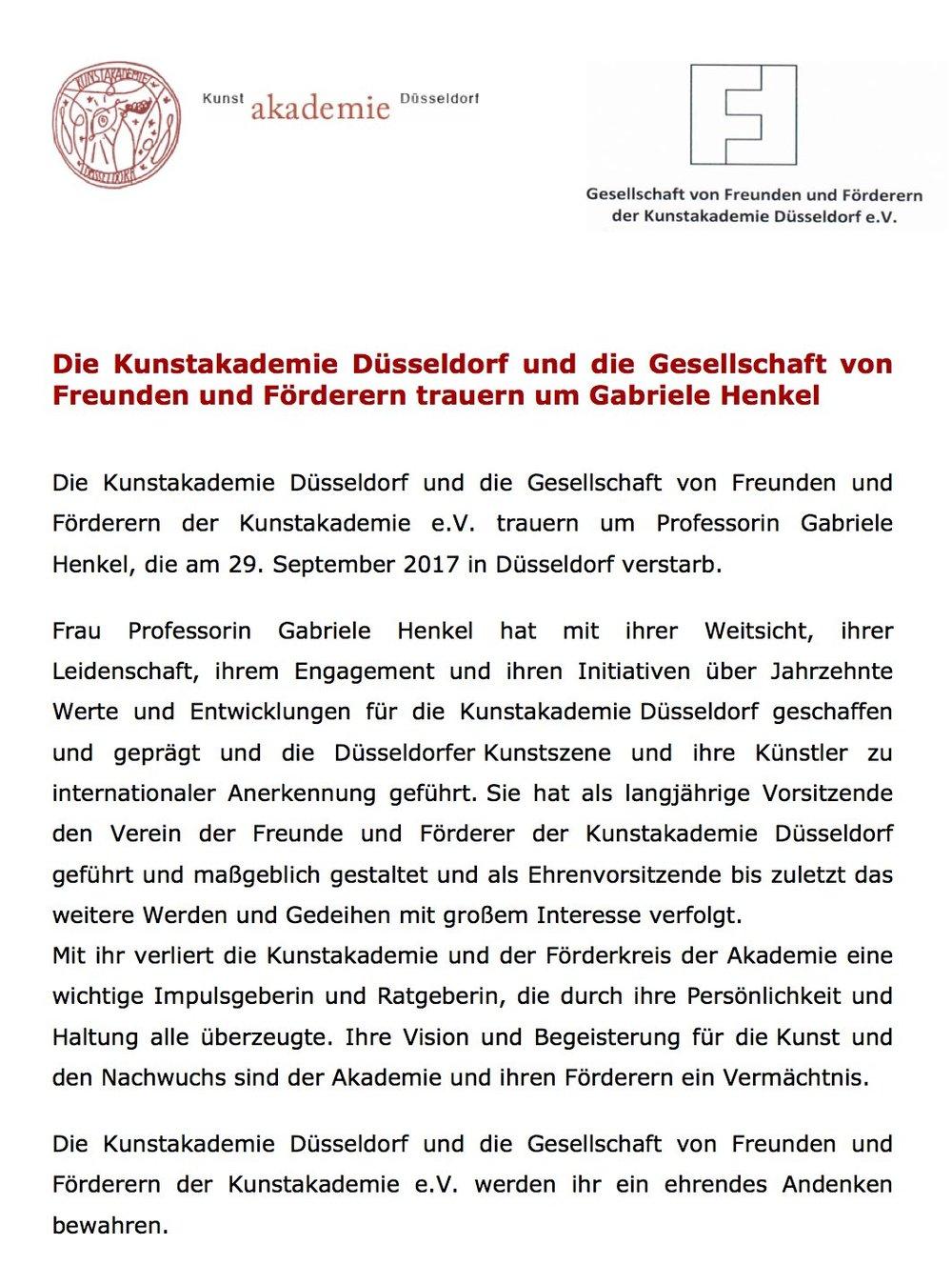 Pressemitteilung von Kunstakademie und Gesellschaft von Freunden und Förderern e.V., 04. Oktober 2017
