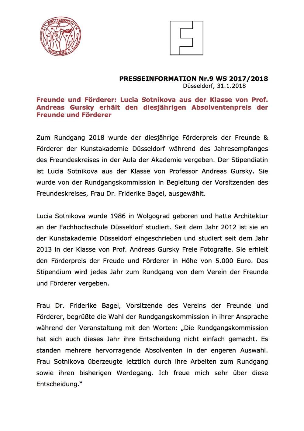 Pressemitteilung der Kunstakademie Düsseldorf, 31.01.2018, Kontakt: Dr. Vanessa Sondermann,  vanessa.sondermann@kunstakademie-duesseldorf.d  e