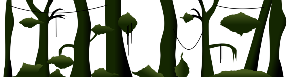 The foreground. Dark trees, vines and bushes. The bushes and foliage are made by using the fractalize tool on circles.