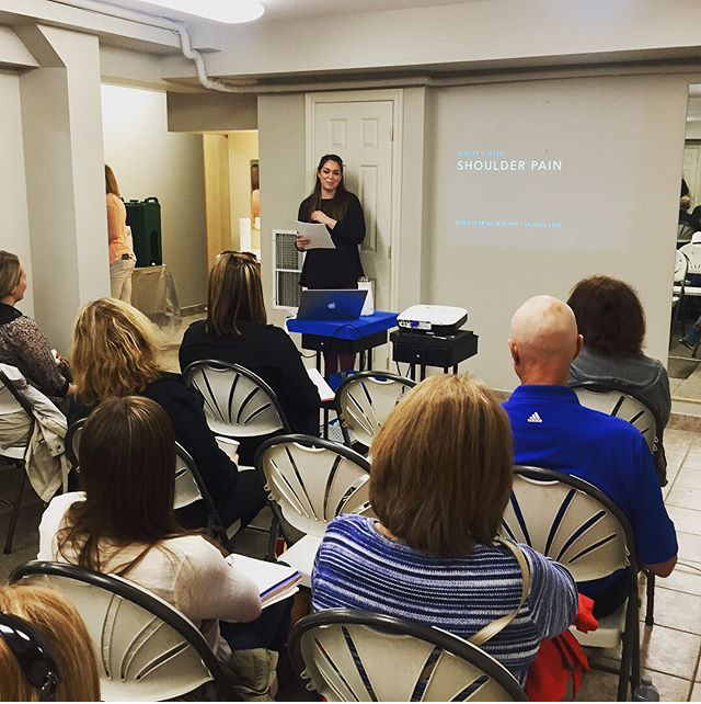 Dianna spoke to a group of community members at the clinic regarding shoulder pain and the importance of conservative treatment when it comes to rotator cuff tears. These are a great way to learn more about your injuries and also get to know some of the therapists a bit better!