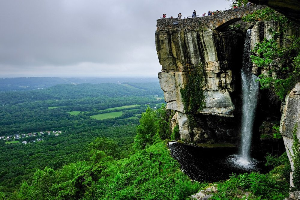 View of Lover's Leap at the summit of Lookout Mountain. The 140 ft waterfall is human-made.