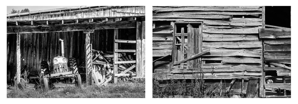Ernie's Old Tractor  (©Angela Martin) and  Tobacco Barn with Old Ranchero  (©Nancy O. Albert). Click to enlarge.