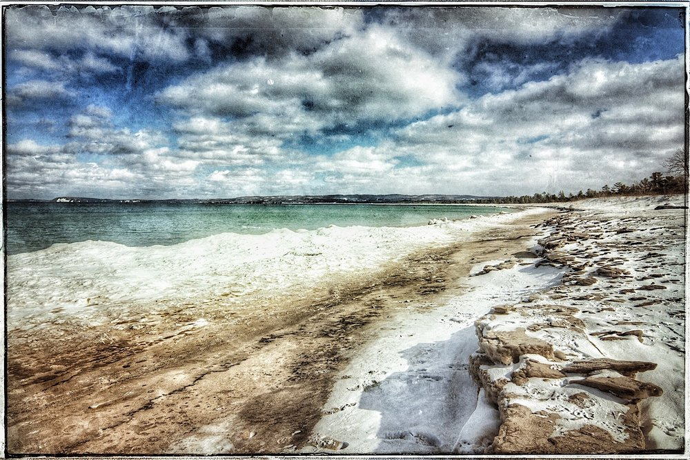 The frozen Lake Michigan Shore at Good Harbor Bay, modified original.  (click to enlarge)