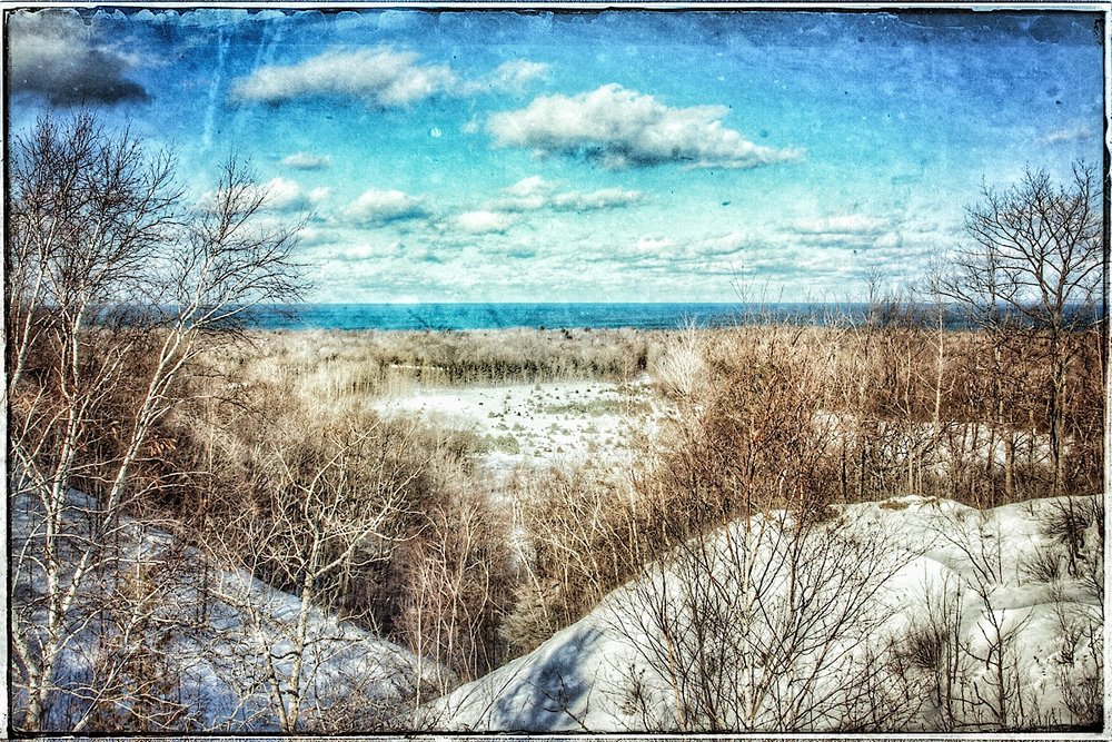 Lake Michigan from Sleeping Bear Dunes, modified original.  (click to enlarge)