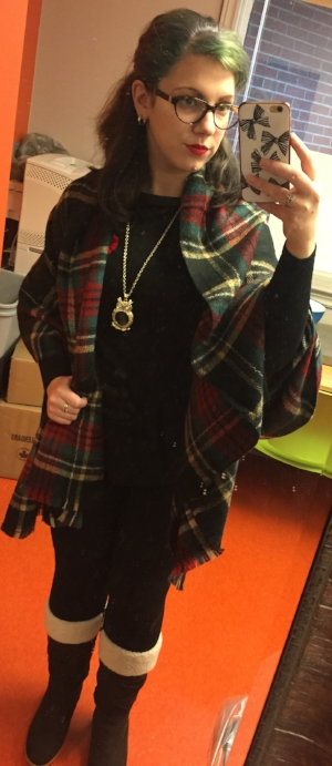Scarf: Ardene's  Shirt and Pants: Dynamite  Boots: Sears