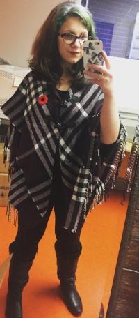 Poncho: Cleo  Shirt: Winners  Leggings: Ardene's  Boots: DSW