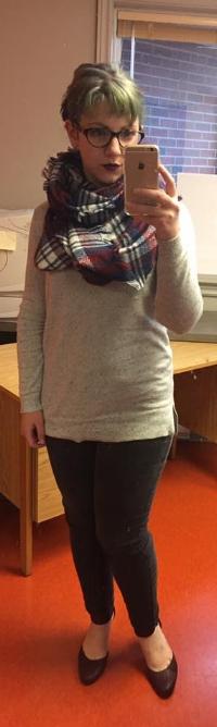 Scarf: Ardene's  Sweater: Joe Fresh  Jeans: Winners  Shoes: DSW
