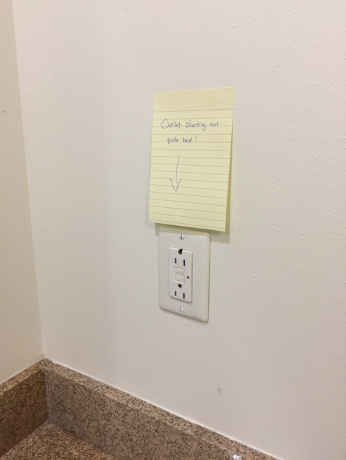 Since no one came out to check out my issues I left passive aggressive sticky notes on the outlets and the appliances that were affected.
