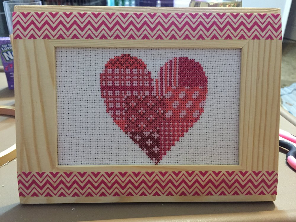 Valentines day themed cross stitch! Finished it around April.