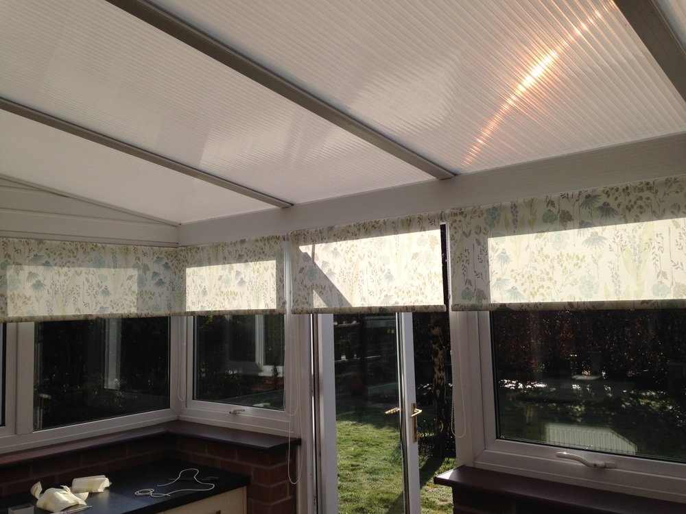 rollers rolling off the front in a conservatory -