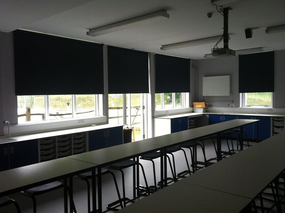 Rollers fitted in a school classroom -
