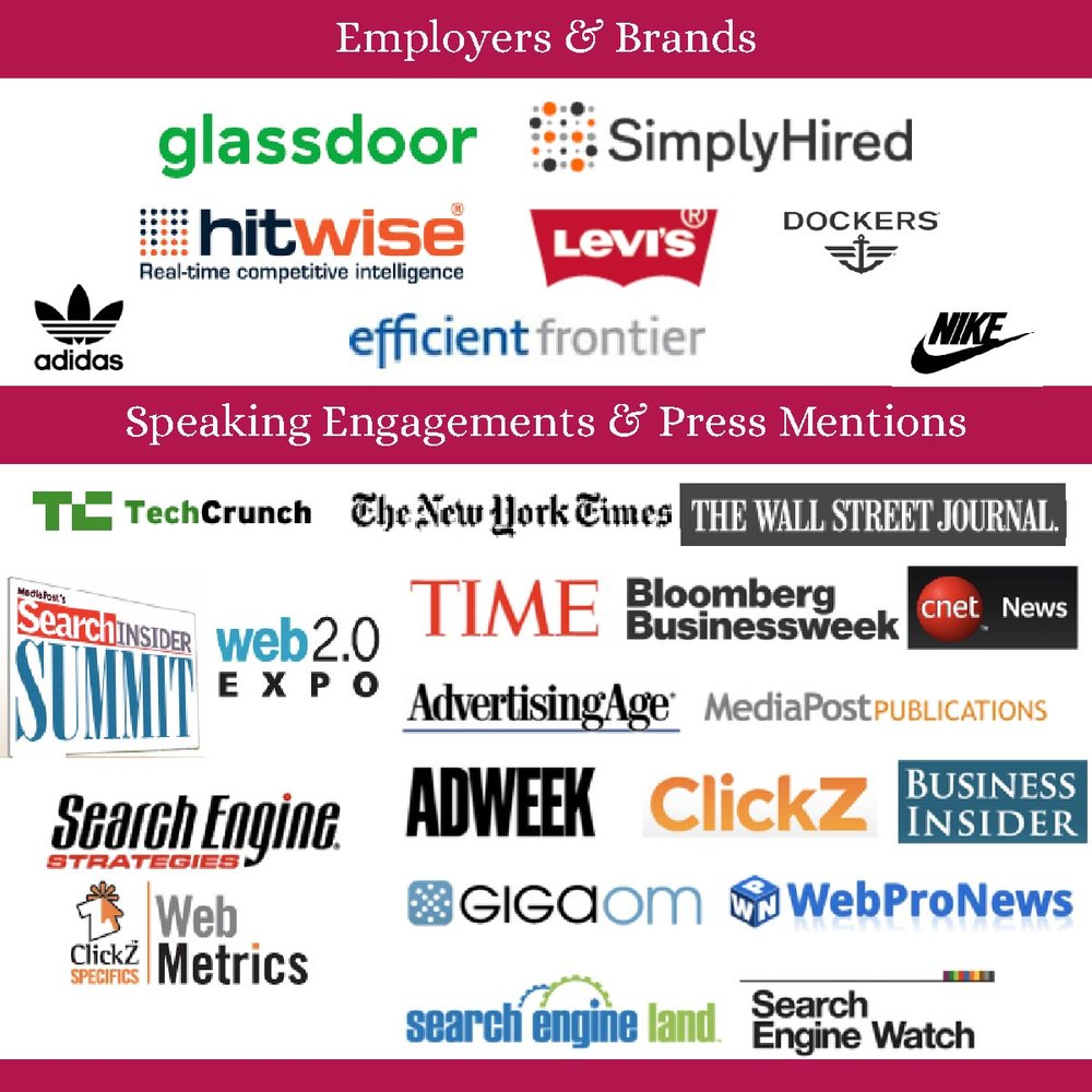 Companies I've worked for, conferences I've spoken at, press outlets I've been mentioned in.