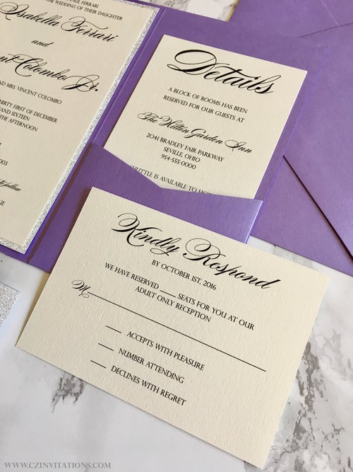 Purple and Silver Glitter Pocket Wedding Invitation — CZ INVITATIONS