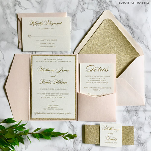 Blush and Gold Glitter Pocket Wedding Invitation — CZ INVITATIONS