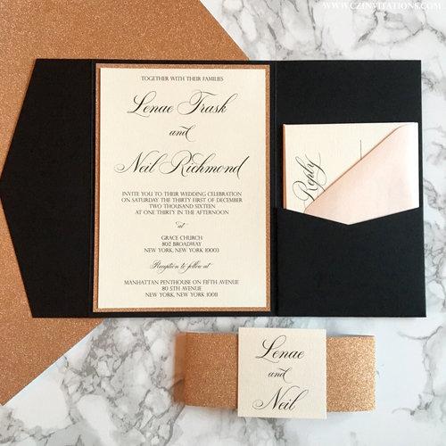 Rose Gold Glitter And Black Pocket Wedding Invitation Cz Invitations