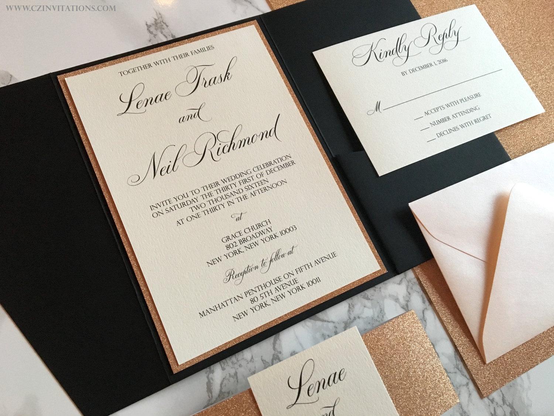 Rose Gold Glitter and Black Pocket Wedding Invitation — CZ INVITATIONS
