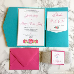 Turquoise Pink And Silver Glitter Pocket Wedding Invitation Inserts