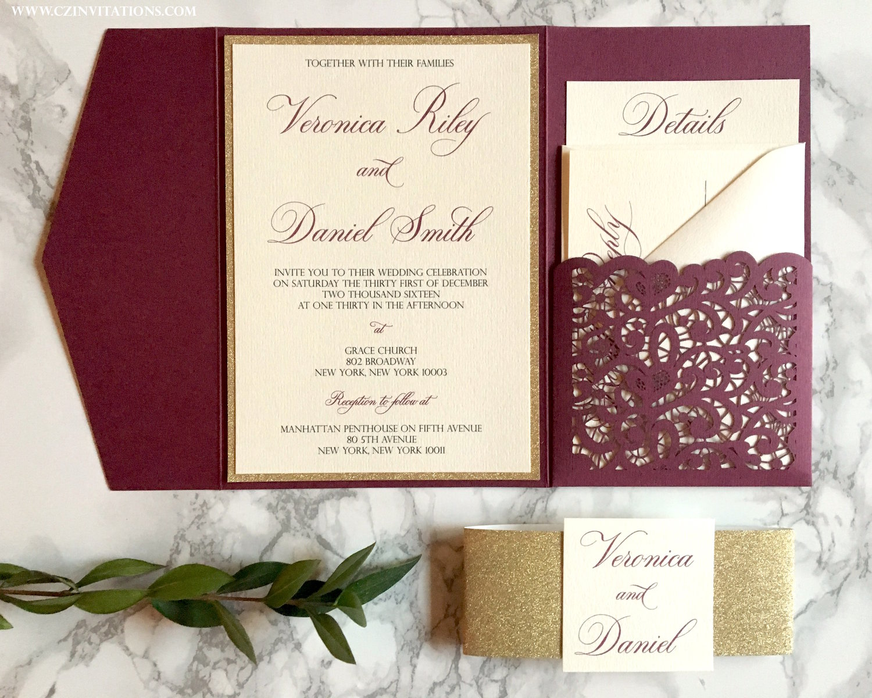 Burgundy and Gold Laser Cut Pocket Wedding Invitation — CZ INVITATIONS